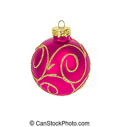 Christmas ball isolated on white background, red color