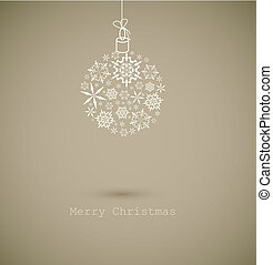 Christmas ball made from gray snowflakes on gray background