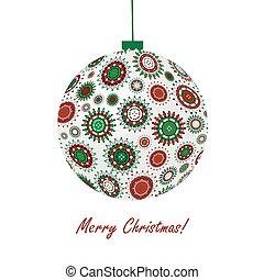Christmas ball made of snowflakes