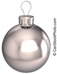 New Year bauble Christmas ball decoration chrome silver sphere icon. Beautiful clean shiny Merry Xmas blank souvenir. Detailed 3d render. Isolated on white background