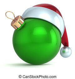 Christmas ball ornament New Year bauble decoration green Santa hat icon happy emoticon. Seasonal wintertime Merry Xmas traditional symbol souvenir blank. 3d render isolated on white background