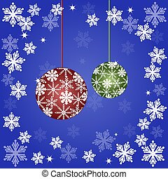 Christmas ball on a snowflake background. Vector illustration
