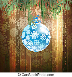 Christmas ball on a wooden background. EPS 10