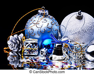 Christmas ball on black background.