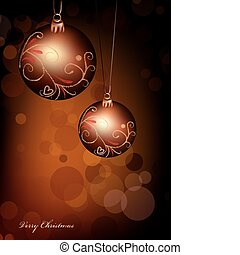 Christmas ball on gold background. Vector