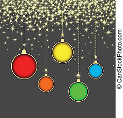 Christmas ball on grey background with snowflakes
