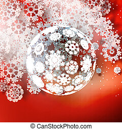 Christmas ball on red background.