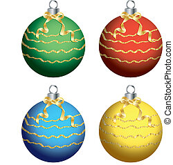 Christmas ball on white background cutout vector.