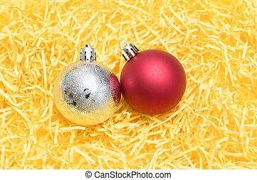 christmas ball on yellow background