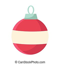 christmas ball ornament icon, colorful flat design
