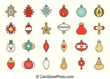 Christmas ball ornaments icon set 1, flat design outline editable stroke