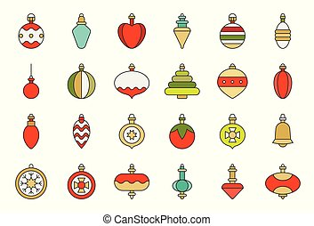 Christmas ball ornaments icon set 2, flat design outline editable stroke
