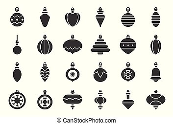 Christmas ball ornaments icon set 2, solid design