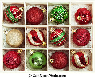 Christmas Ball Ornaments in a wooden box