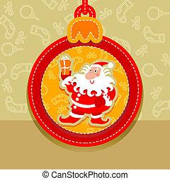 Christmas ball, postcard santa clau
