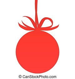 Christmas ball, red bow, isolated on a white