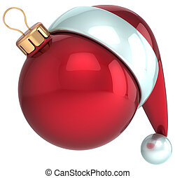 Christmas ball Happy New Year bauble decoration red Santa hat icon. Beautiful shiny Merry Xmas symbol souvenir blank. Detailed 3d render. Isolated on white background