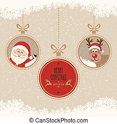christmas ball santa reindeer merry christmas snowflakes background
