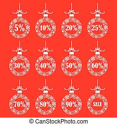 Christmas ball set for sale on red background