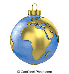 Christmas ball shaped as globe or planet, Africa part