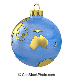 Christmas ball shaped as globe or planet, Australia part