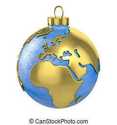 Christmas ball shaped as globe or planet, Europe part