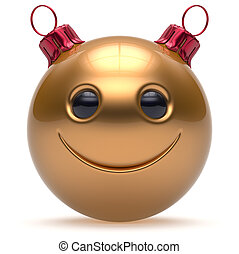 Christmas ball smiley face Happy New Year emoticon