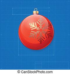 Snowman symbol drawn as blueprint stylized drafting of gift christmas ball symbol like blueprint drawing malvernweather Gallery