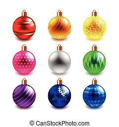 Christmas ball vector set