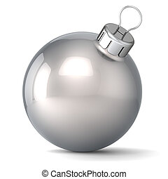 Christmas ball New Years Eve bauble decoration silver chrome wintertime ornament icon traditional. Shiny Merry Xmas winter holidays symbol classic blank. 3d render isolated on white background