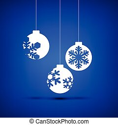 Christmas ball white on blue background