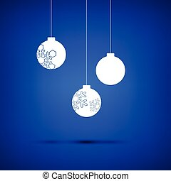 Christmas ball white on blue