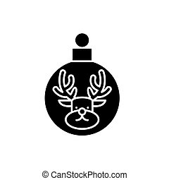 Christmas ball with a deer black icon, vector sign on isolated background. Christmas ball with a deer concept symbol, illustration