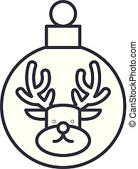 Christmas ball with a deer line icon concept. Christmas ball with a deer vector linear illustration, symbol, sign