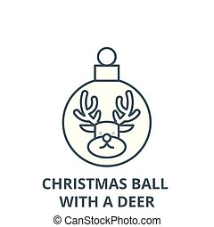 Christmas ball with a deer line icon, vector. Christmas ball with a deer outline sign, concept symbol, flat illustration