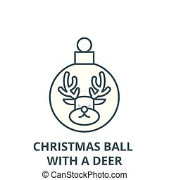 Christmas ball with a deer vector line icon, linear concept, outline sign, symbol