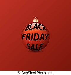 Christmas ball with an inscription black Friday sale on a red background.
