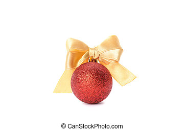 Christmas ball with bow isolated on white background