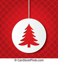 Christmas ball with christmas tree. Cut the paper.