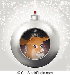 Christmas Ball with deer and magic glow inside on the snowy backdrop