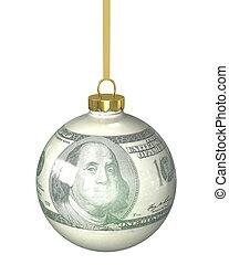 Christmas ball with dollar texture