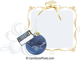 Christmas ball with holiday card in the decorative frame. ...