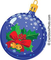 christmas ball with holly