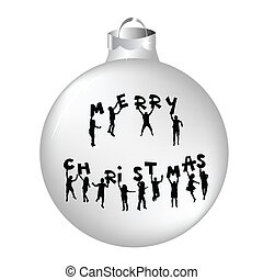 Christmas ball with kids silhouettes