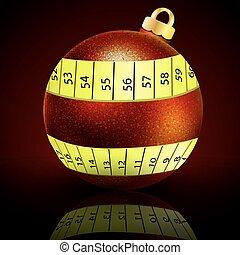 Christmas ball with measuring tape