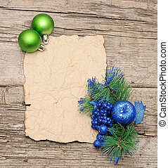 Christmas ball with paper and christmas decorations