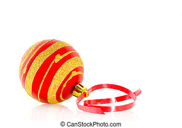 christmas ball with red ribbon