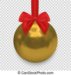 Christmas ball with ribbon and a bow, isolated on transparent background.
