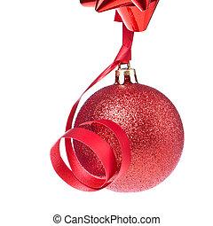 christmas ball with ribbon