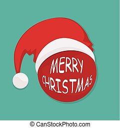 Christmas ball with Santa hat. Vector illustration